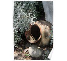 Clay Pot in a Garden Poster