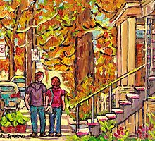 STROLLING PAST THE OUTDOOR STAIRCASE VERDUN AUTUMN SCENE MONTREAL by Carole  Spandau