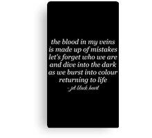 Jet Black Heart Lyrics Canvas Print