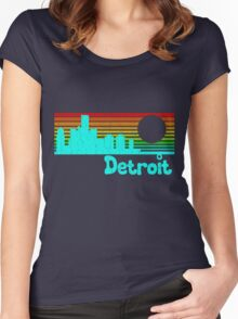80's Retro Detroit (Distressed Design) Women's Fitted Scoop T-Shirt
