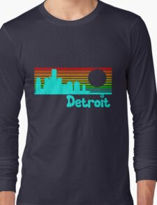 80's Retro Detroit (Distressed Design) Long Sleeve T-Shirt