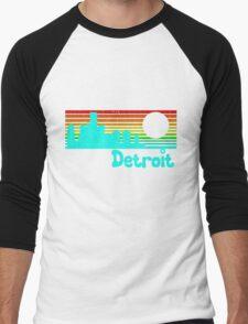 80's Retro Detroit (Distressed Design) Men's Baseball ¾ T-Shirt