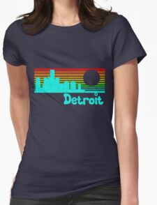 80's Retro Detroit (Distressed Design) Womens Fitted T-Shirt