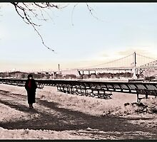 Woman In The Snow - East River  by Madeline Bush Ellis