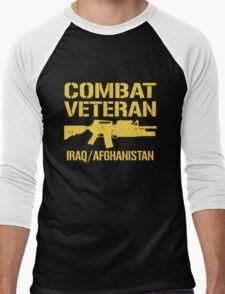 Combat Veteran Iraq and Afghanistan (Vintage Distressed) Men's Baseball ¾ T-Shirt