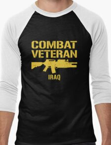Combat Veteran IRAQ (Vintage Distressed) Men's Baseball ¾ T-Shirt
