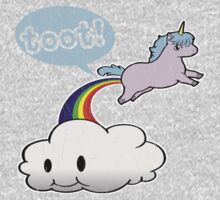 Toot! Cute Unicorn Fart (Vintage Distressed Design) One Piece - Short Sleeve