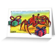 kmay xmas crab with pressies Greeting Card