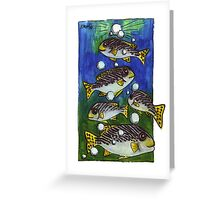kmay xmas fish bubble tree Greeting Card