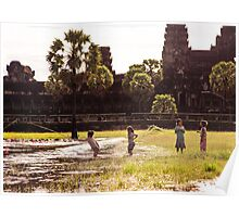 Work or Play?: Children Fishing at Angkor Wat, Cambodia Poster