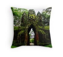 Guarded Gate: Heads at Angkor Thom, Cambodia Throw Pillow