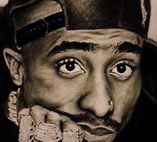 Hand drawn Tupac by hannahellington