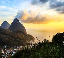 Piton Sunset: Soufrière Bay Panorama, St. Lucia by thewaxmuseum