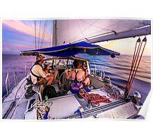 Sunset Sail: Boating, Caribbean Sea Poster