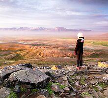 Midnight Sun: Borgarvirki Mountain Landscape, Iceland by thewaxmuseum