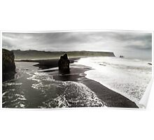 Isolated Rock: Black Beach at Dyrholaey, Iceland Poster