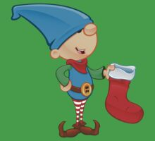 Elf Character - Holding A Stocking One Piece - Short Sleeve