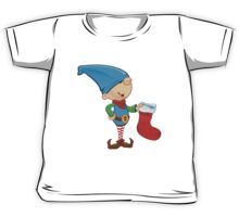 Elf Character - Holding A Stocking Kids Tee