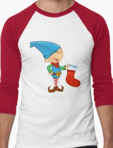 Elf Character - Holding A Stocking Men's Baseball ¾ T-Shirt