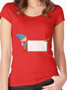 Elf Character - Holding Blank Board Women's Fitted Scoop T-Shirt