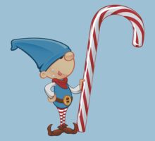 Elf Character - Holding Candy Cane Baby Tee