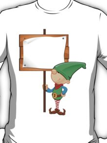 Elf Character - Holding Wooden Sign T-Shirt