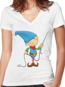 Elf Character - Needle & Thread Women's Fitted V-Neck T-Shirt