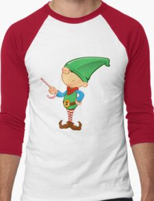 Elf Character - Pointing With Candy Men's Baseball ¾ T-Shirt