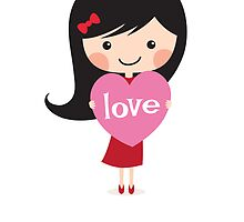 Girl holding heart - I love you always by MheaDesign