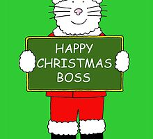 Cat wearing Santa Hat, Happy Christmas Boss. by KateTaylor