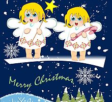 Christmas Angels, Snow and Text card by walstraasart