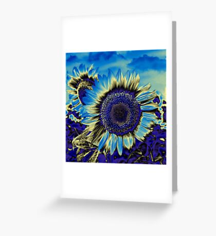 Blue Sunflower Greeting Card