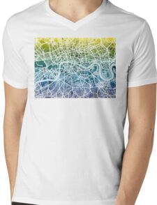 London England Street Map Mens V-Neck T-Shirt