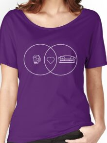 Beer + Couch = Love venn diagram Women's Relaxed Fit T-Shirt