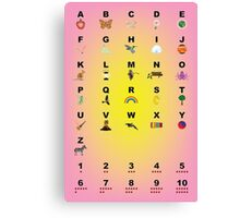 Alphabet and Memory Pegs Learning Chart • 2015 Canvas Print