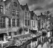 Bruges Canal In Black and White by Stuart Mole