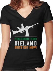 Freedom for Ireland (Vintage Distressed) Women's Fitted V-Neck T-Shirt