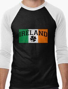 Vintage IRISH Flag (Distressed Design) Men's Baseball ¾ T-Shirt