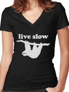 Cute Sloth - Live Slow (Vintage Distressed Design) Women's Fitted V-Neck T-Shirt