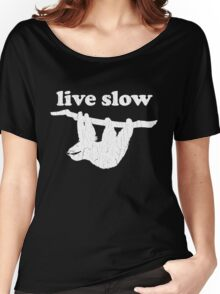 Cute Sloth - Live Slow (Vintage Distressed Design) Women's Relaxed Fit T-Shirt