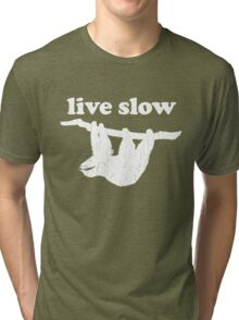 Cute Sloth - Live Slow (Vintage Distressed Design) Tri-blend T-Shirt