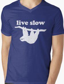 Cute Sloth - Live Slow (Vintage Distressed Design) Mens V-Neck T-Shirt