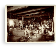 Cabinet Card: 19th Century Pattern Makers: Water Wheel and Bicycles Canvas Print