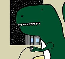 A dinosaur playing retro video games. by Paul Reoyo