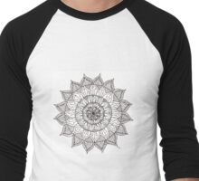 Black and white flower mandala Men's Baseball ¾ T-Shirt