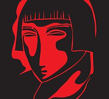 woman face 1928, black and red by kislev