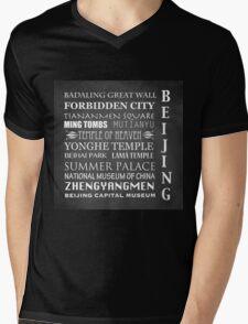 Beijing Famous Landmarks Mens V-Neck T-Shirt