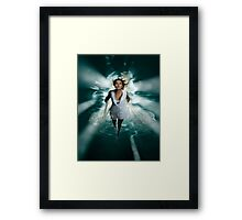 Beautiful Woman Diving in the Water art photo print Framed Print