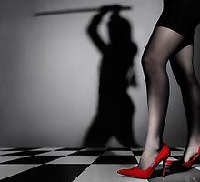 Shadow of sexy woman with sword art photo print by ArtNudePhotos