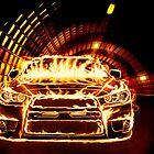 Sports Car in Flames art photo print by ArtNudePhotos